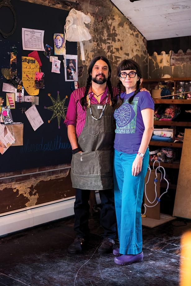 Lite Brite Neon Studio's founder Matt Dilling with his partner Erika DeVries. - MONICA SIMOES