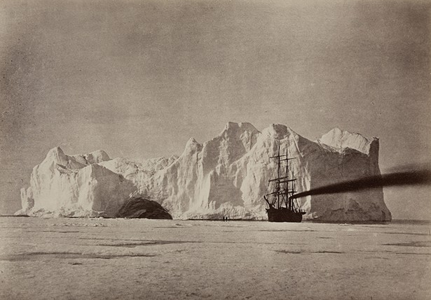 "William Bradford (American, 1823-1892),  Between the Iceberg and Field Ice, from , 1869. Albumen print, 19 7/16 x 24 7/16 in. Williams College Museum of Art, Williamstown, MA: Museum purchase, Joseph O. Eaton Fund (77.27) From ""Extreme Nature!"" at Clark Art Institute."