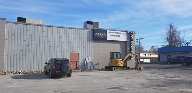 The exterior of Cosmic Cinema in Hudson mid-construction.