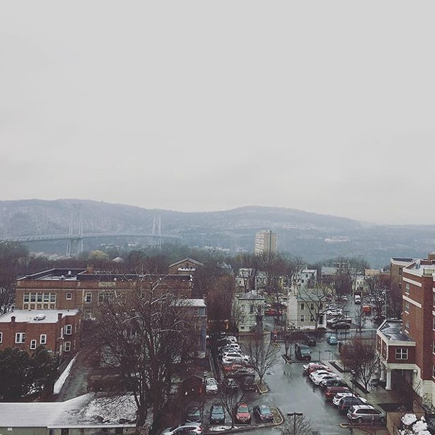 The view from the rooftop terrace of Queen City Lofts in Poughkeepsie.