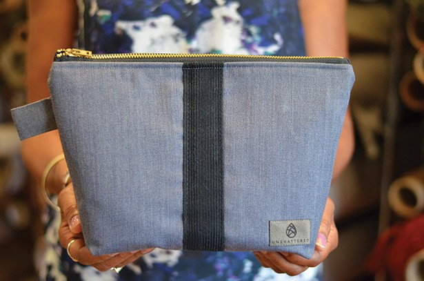 A makeup kit made from an upcycled West Point cadet uniform.