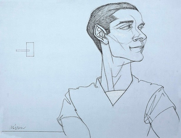 Antonio Listening to Bea Lillie sing Paree, a 2012 line drawing. - JEFF MILLER