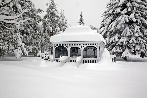 The Villa Vosilla gazebo after an epic snowfall.