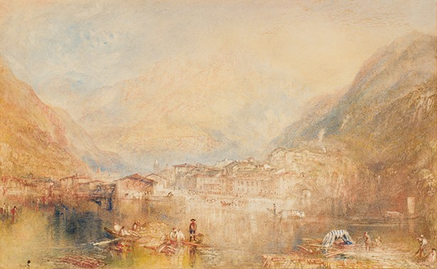 Brunnen, from the Lake of Lucerne, Joseph Mallord William Turner, 1845. Watercolor and gouache on paper, 11 7/16 x 18 3/4 in.