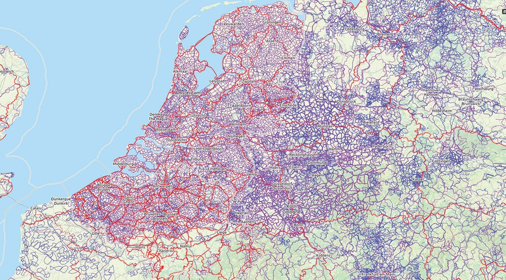This map, courtesy of Opencyclemap.org, - shows the density of cycleways in the Netherlands. Twenty-seven percent of all trips in the Netherlands are bicycle trips. In the US it's just over one percent of all trips.