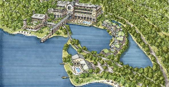 Proposed Williams Resrot & Spa aerial rendering.