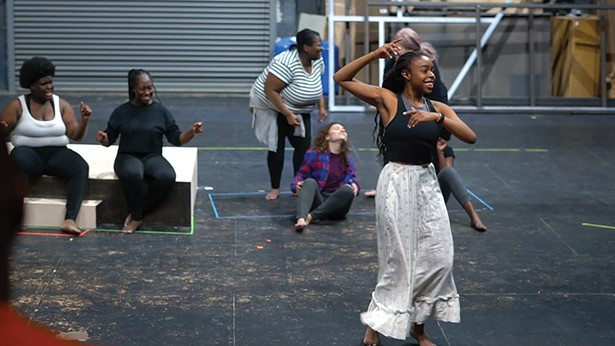 "Ifeoma Ukatu with Samantha Jane Williams, Cory Sierra, Stefanie Workman, and Deborah Crumbie in February rehersals for ""For Colored Girls Who Have Considered Suicide / When the Rainbow is Enuf"" at SUNY New Paltz. - PHOTO BY MAXAMILLIAN EVANEGA-KAHLER"
