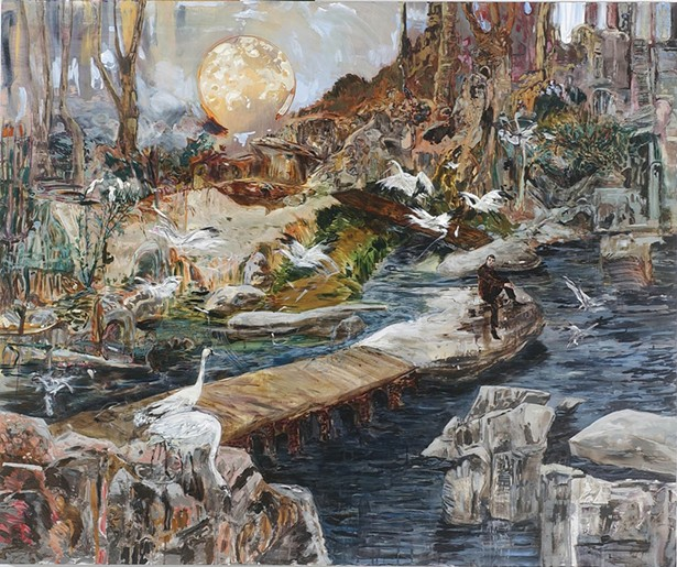 Hernan Bas, Night Flight or Midnight Migration, or On My Merry Way, mixed media on canvas, 2008.