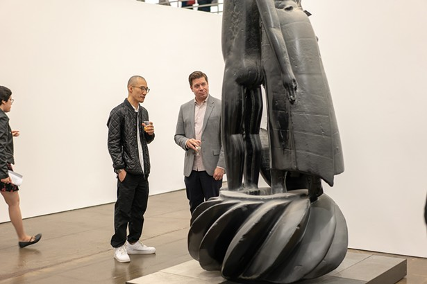 Co-Curators Ken Tan and Tim Hawkinson, Adrián Villar Rojas from the series 'The Theater of Disappearance' (2017) - PHOTO BY CHARLOTTE WOOLF. COURTESY OF HUDSON VALLEY MOCA