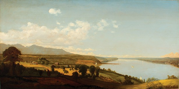 Sturgie revealed in a detail of Jervis McEntee's View on the Hudson Near the Rondout.