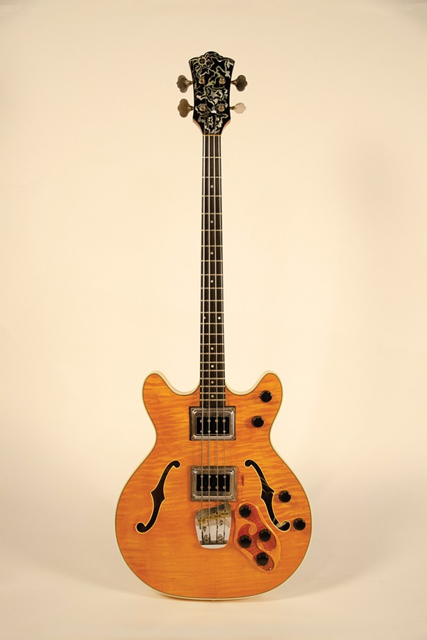 Bass played at Woodstock by Jack Casady of Jefferson Airplane. Lent by Jack Casady.
