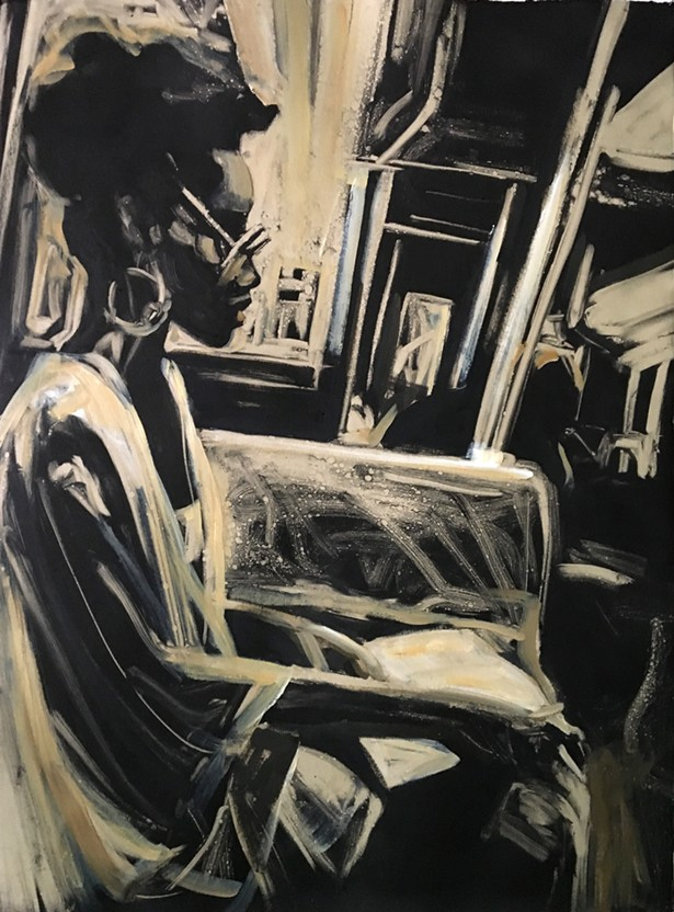 """Woman on a Subway, Monoprint, 22"""" x 30"""" Printed by the Lisbeth Firmin at Castle Hill, 2018"""