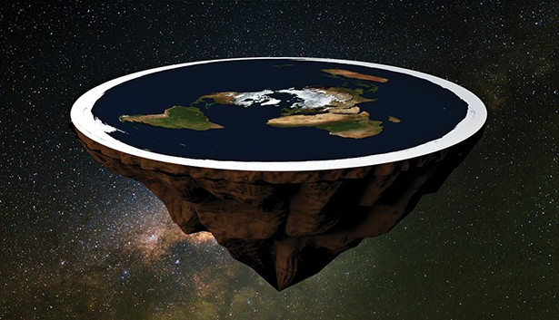 An artist's rendering of the flat earth.