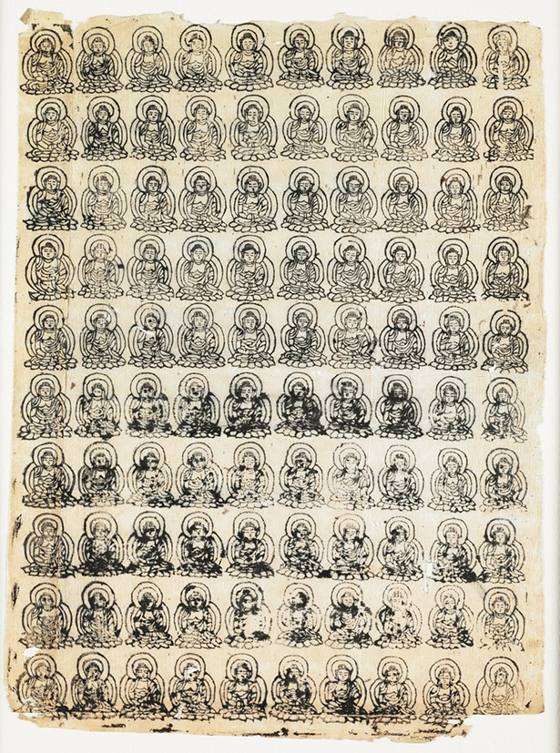 One Hundred Images of the Amida Buddha, - ink stamps on paper, Japanese, Heian period, 12th century Image courtesy of The Frances Lehman Loeb Art Center
