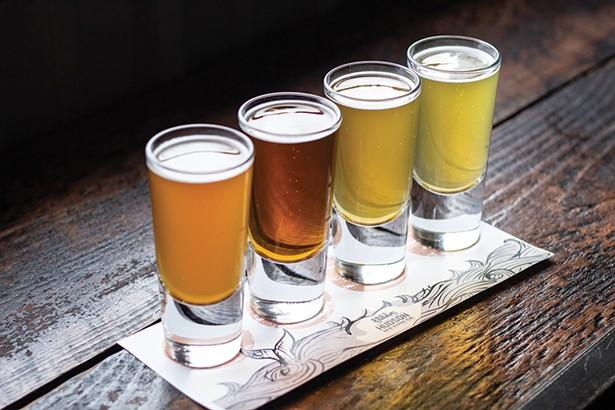 A flight of beers at Hudson Brewing. - PHOTO: TYLER ZIELINSKI