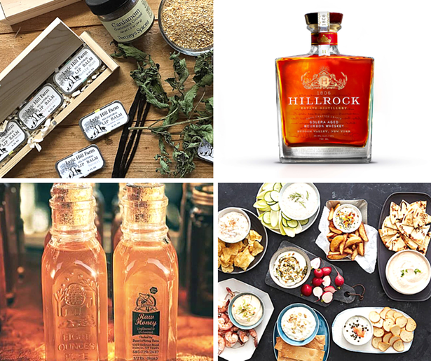 Clockwise from top left: Lyric Hill Farm, Hillrock Estate Distillery, Gourmet Creations, Laura's Raw Honey.