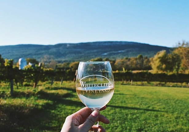 Wine with a view at Whitecliff Vineyard in Gardiner, NY.