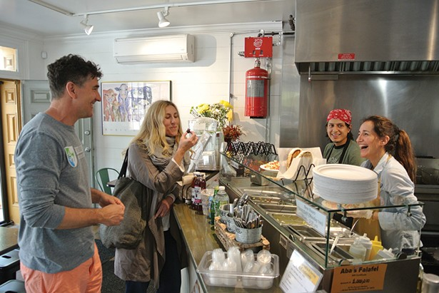 Jeff Mosher, Kelly Jones, Christian Matute, and Jacqueline Rusco at Aba's Falafel in Rhinebeck. - PHOTO: JOHN GARAY