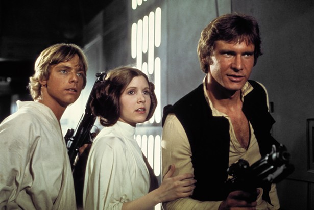 MARK HAMMILL, CARRIE FISHER, AND HARRISON FORD IN STAR WARS