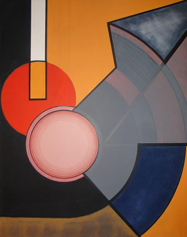 Nil Yalter, Circular Tention, 1967. Acrylic on canvas, 150 x 125 cm. © Nil Yalter - PHOTO: GALERIE HUBERT WINTER, VIENNA