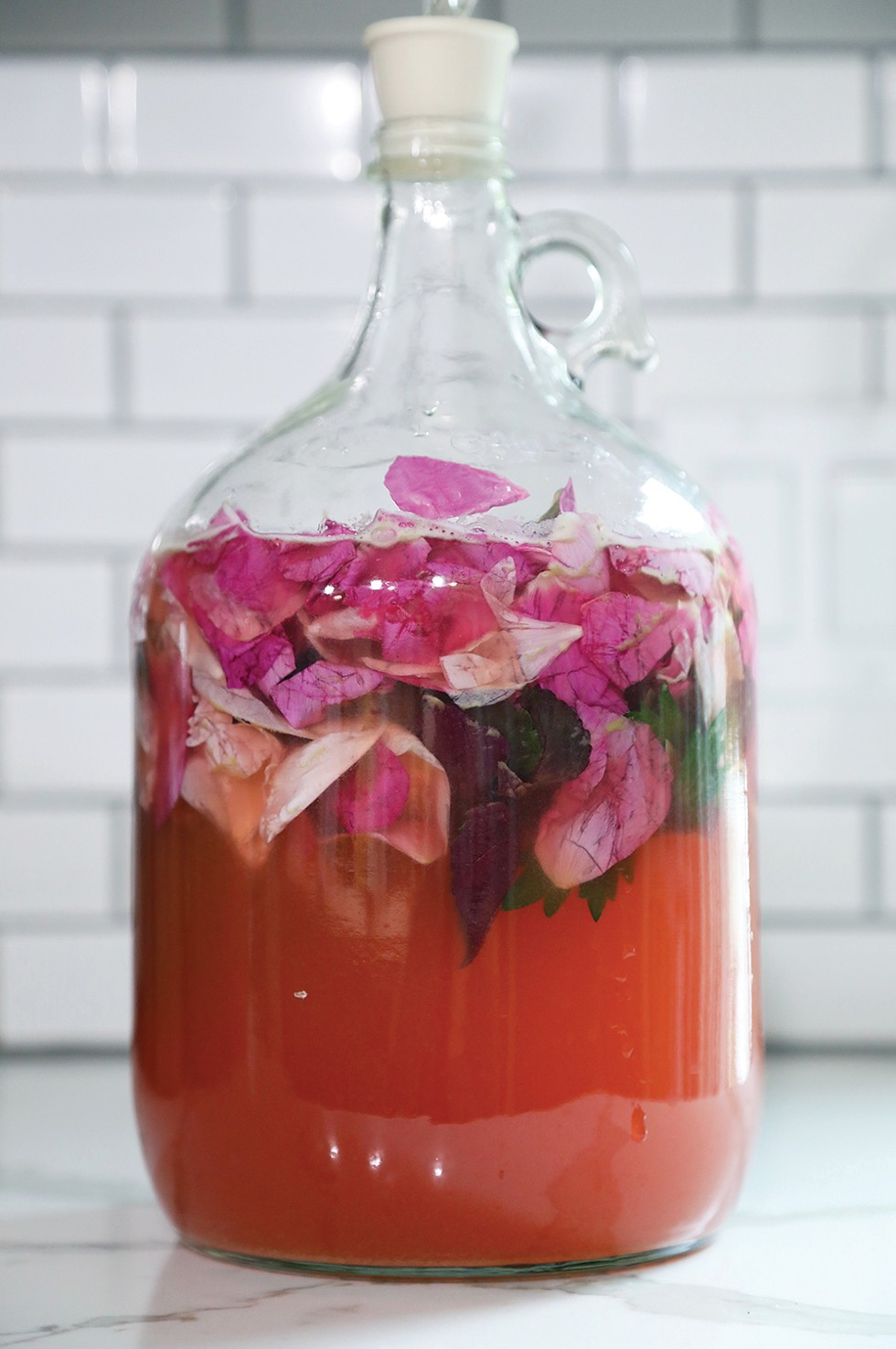 Rose petals, shiso, mugwort, and anise hyssop ferment with an airlock. - PHOTO: PETER BARRETT