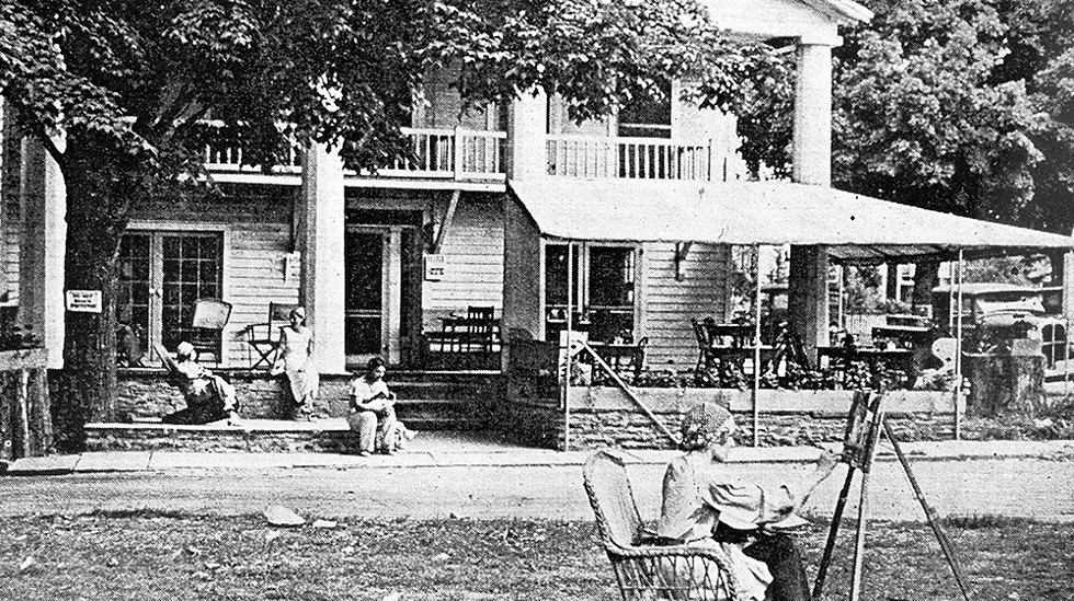 Artist at work on the Village Green. - COURTESY OF THE HISTORICAL SOCIETY OF WOODSTOCK