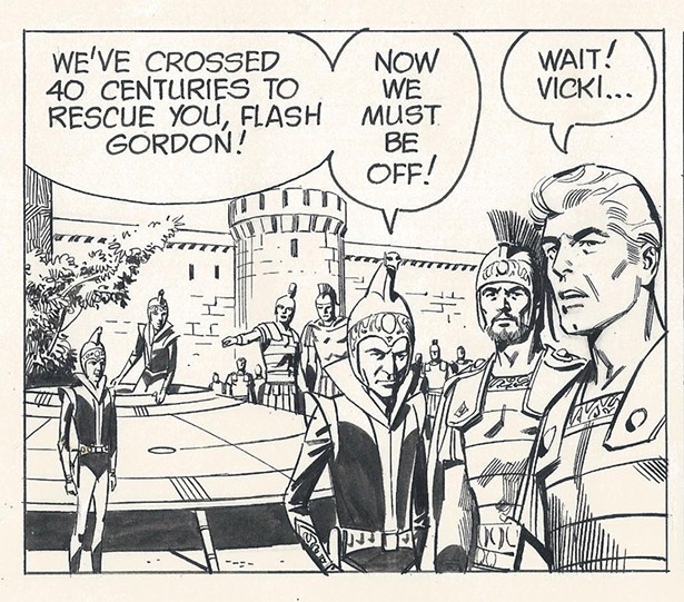 """A panel from the Dan Barry-drawn Flash Gordon, one of the comics featured in the exhibit """"A Cavalcade of American Newspaper Comic Strip Art,"""" on view at the Ellenville Public Library and Museum through October 31."""