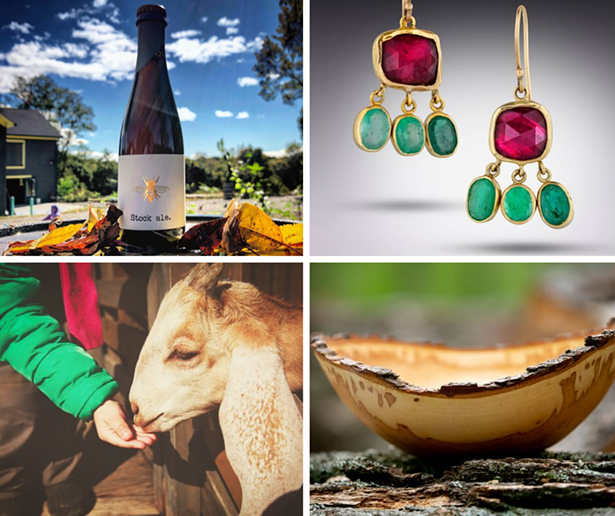 CLOCKWISE: PLAN BEE FARM BREWERY, LORI KAPLAN JEWELRY, DEER MEADOW WOOD TURNING