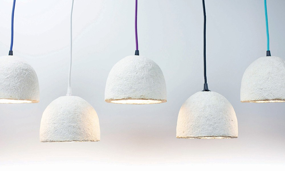 Lampshades grown from mycelium by sustainable design studio Danielle Trofe using Ecovative Design technology. - PHOTO: DANIELLE TROFE