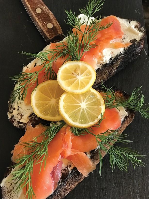 Smoked salmon and chevre tartine on grilled Sparrowbush levain.
