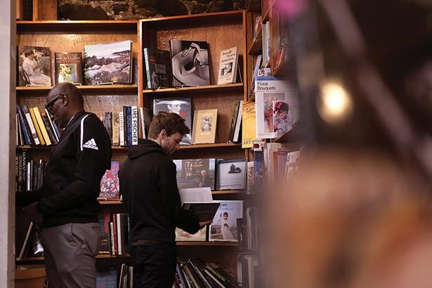 Les Jones and Simeon Tuttle at Inquiring Minds Bookstore. - PHOTO: ROY GUMPEL