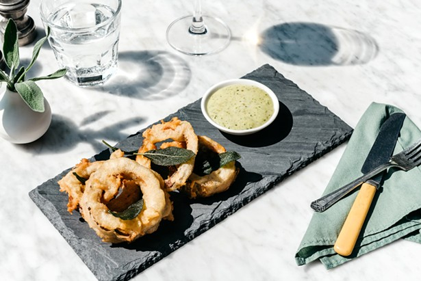 Delicata squash rings with herb aioli at Butterfield in Stone Ridge - PHOTO BY HARRISON LUBIN