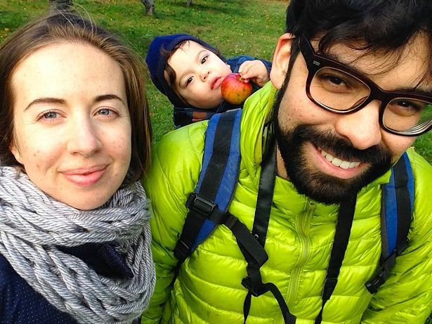 Hannah Springer, Hugo Corvera and Figaro exploring Westwind Orchard during their first Hudson Valley autumn. - COURTESY OF OLIVER WESTON CO.