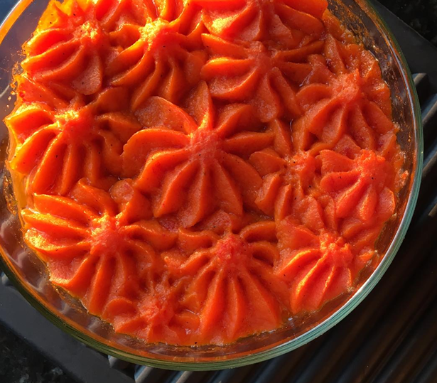 Scarbrough Fair pie topped with luminous carrots. - COURTESY OF OLIVER WESTON CO.
