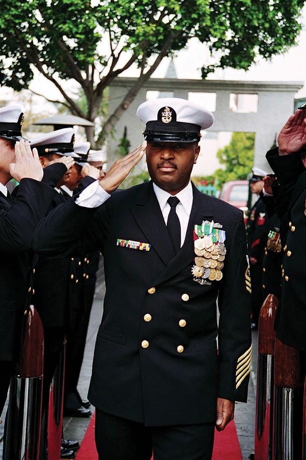Nance at his Naval retirement ceremony, Coronado, California, 2001.