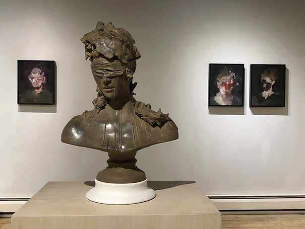 """An installation view of Richard Butler's exhibition of paintings, """"amoamasamat,"""" and Emil Alzamora's exhibition of sculpture, """"On the Royal Road,"""" at BCB Art in Hudson."""
