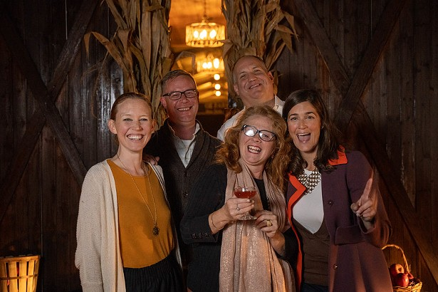 Fun squad: Dallas Gilpin, Windmill Wine and Spirits manager Derek Williams, Hazel Sherburne of Dancing Tulip Floral, Ted Gilpin, and Oz Farms owner Jenny  Oz LeRoy.