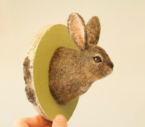 Portrait of a Snowshoe Hare in Summer, Erin Gardner, felt, painted aspen wood.