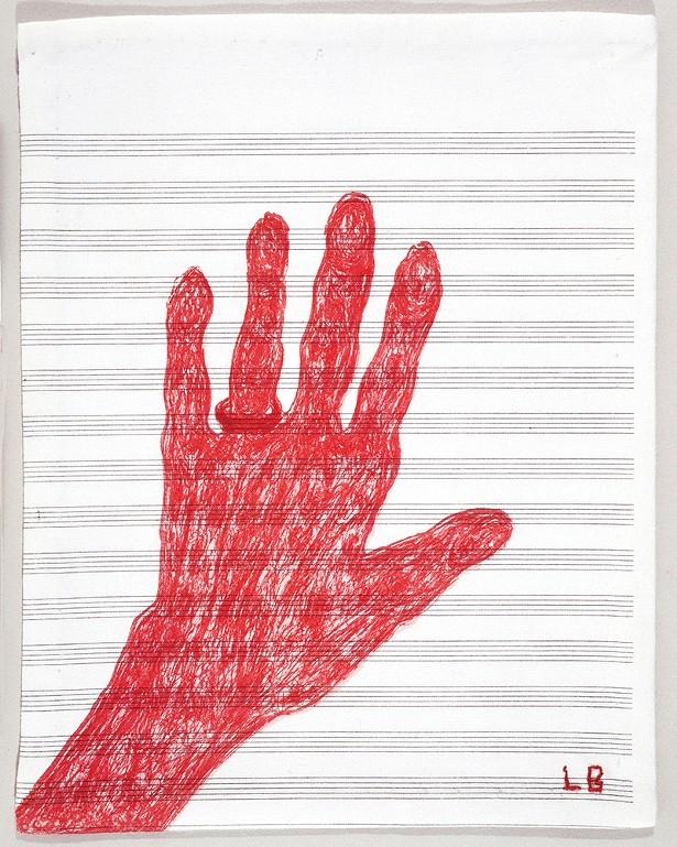 My Hand, Louise Bourgeois, 2002, lithograph - on vintage cloth, collection of Jordan D. Schnitzer. - PHOTO: CHRISTOPHER BURKE