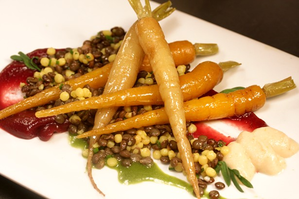 Olive oil-poached Carrots, lentils, and parsnips at Serevan.