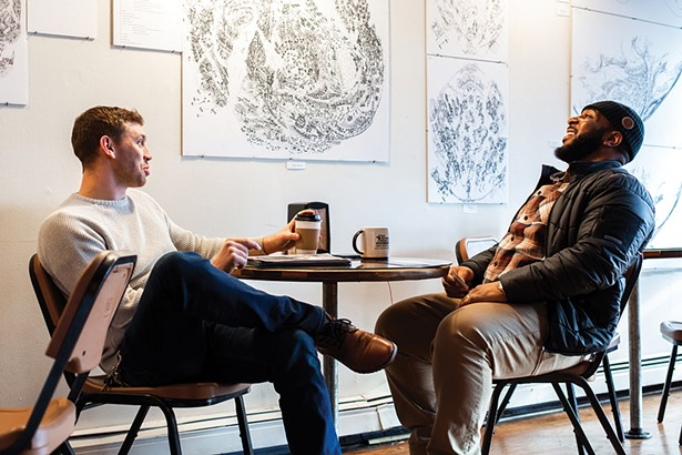 Jake Freedman and Hamar Clarke at the Poughkeepsie Grind on Main Street. Opened in 2016, Poughkeepsie Grind roasts its own coffee under the Illuminated Coffee Company label. - PHOTO: ANNA SIROTA