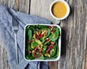 "Recipe: Baby Spinach Salad with Beet Pickled Shallots and Shiitake ""Bacon"""
