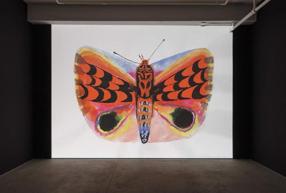 Allison Schulnik, Moth, 2019, installation view.