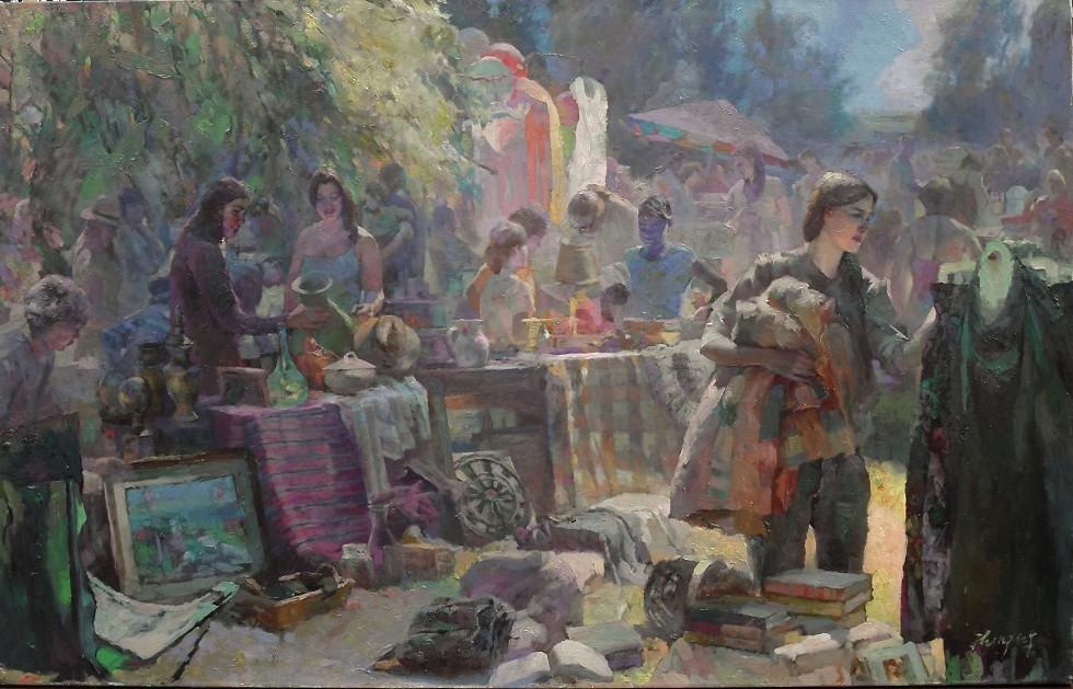 Hongnian Zhang, Yard Sale, oil on canvas