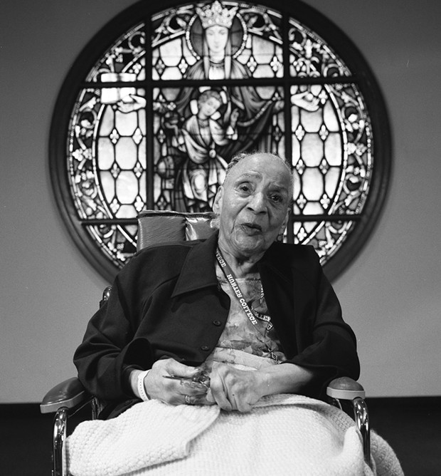 """Margery Schab in a photograph from the exhibition """"I Still Count: Voices from Nursing Homes."""""""