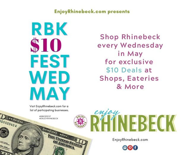Shop Rhinebeck every Wed in May for $10 Deals-Support Locally Owned Businesses