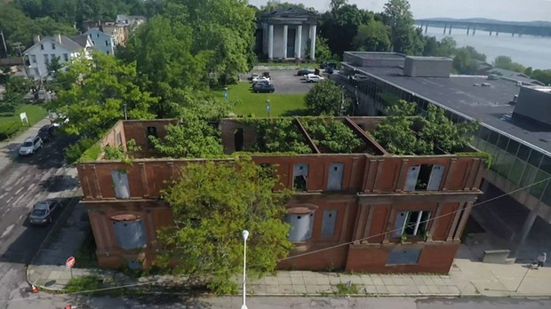 An aerial view of Martin Roth's installation at 120 Grand Street in Newburgh.