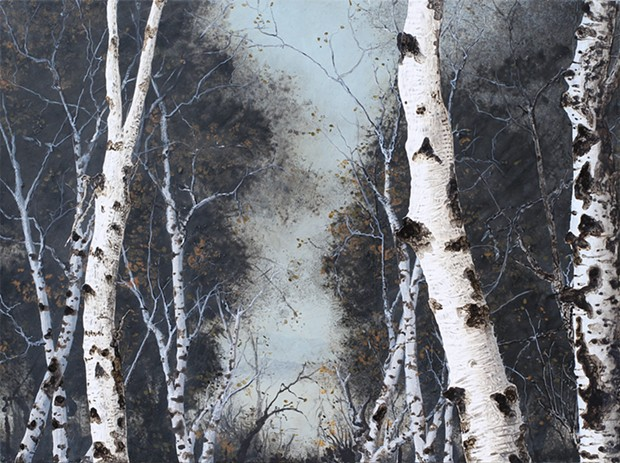 Birch Grove on the Hudson I by Frank Faulkner, 2010, acrylic on wood panel, 38 x 46 inches