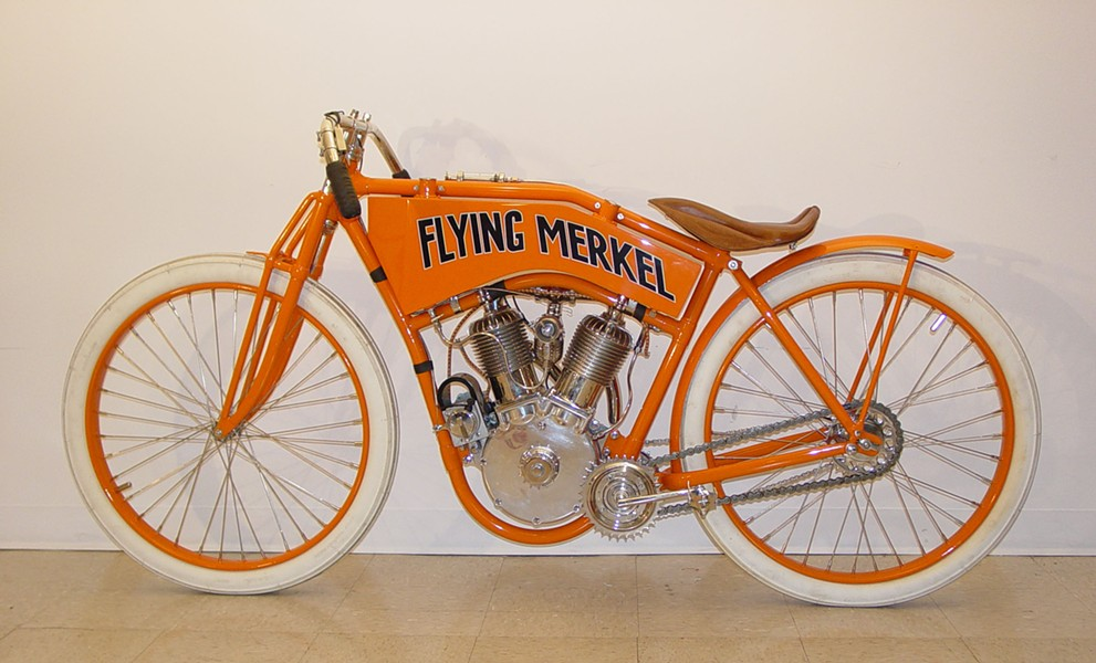 The Flying Merkel is just one of hundreds of motorcycle models spanning decades at Motorcyclepedia.