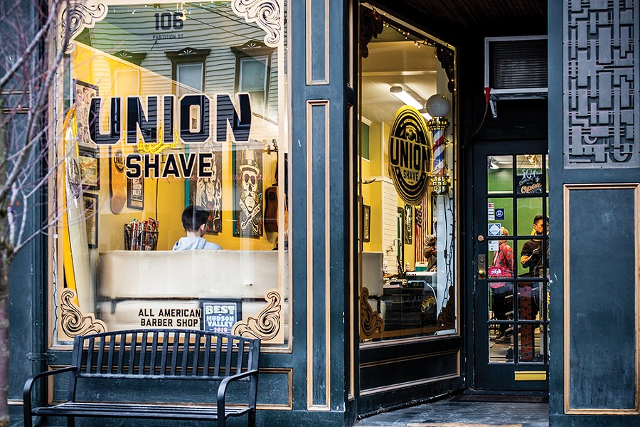 Opened in 2014, Union Shave is part of a movement of retro men's barbershops that offer a shave and a haircut with attitude. - PHOTO BY ANNA SIROTA